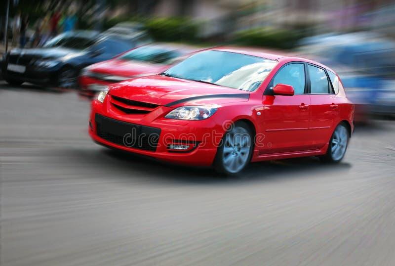 汽车移动红色 免版税图库摄影