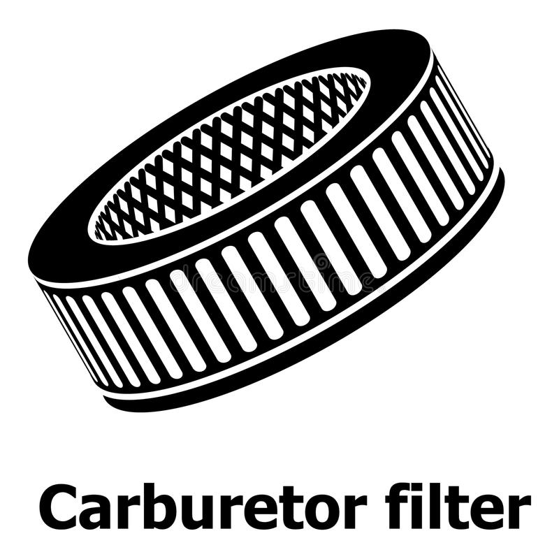汽车空气过滤器象,简单的黑样式 向量例证