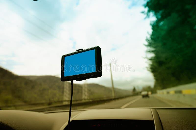 汽车空的定位屏幕系统 库存图片