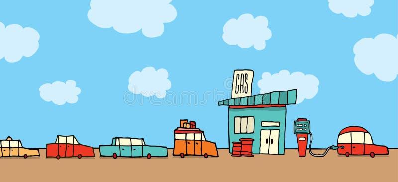排队在加油站的汽车 向量例证