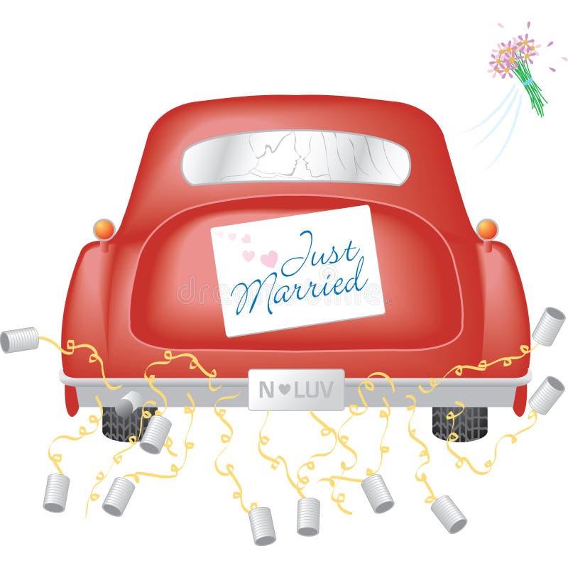 汽车结婚的红色符号w 库存例证