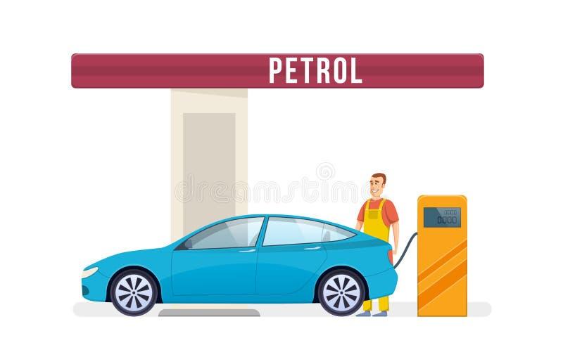汽车结转您的加油站 碗汽车推力增强的油替换服务 工作者填装燃料入汽车 皇族释放例证