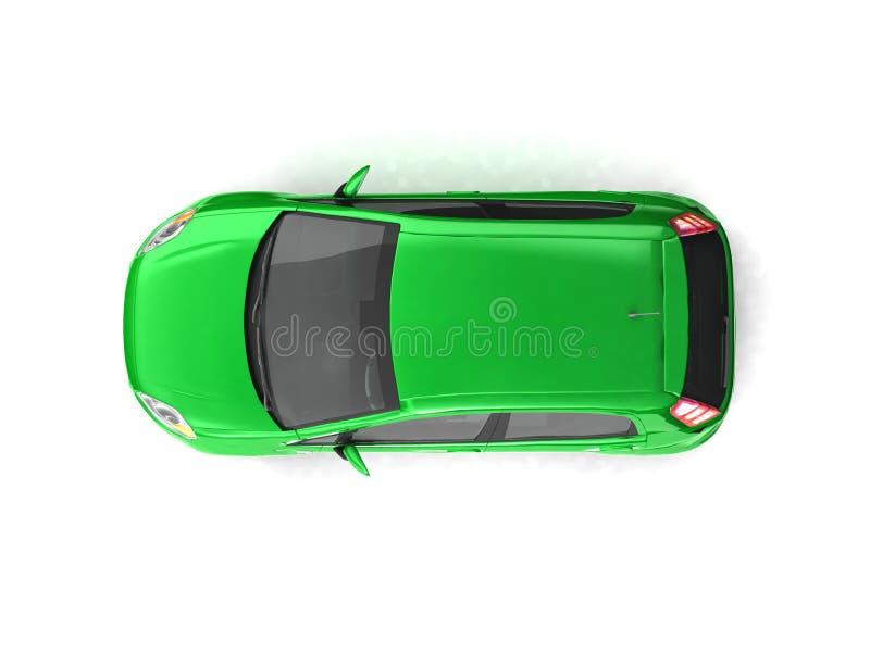 汽车绿色斜背式的汽车顶视图 库存例证