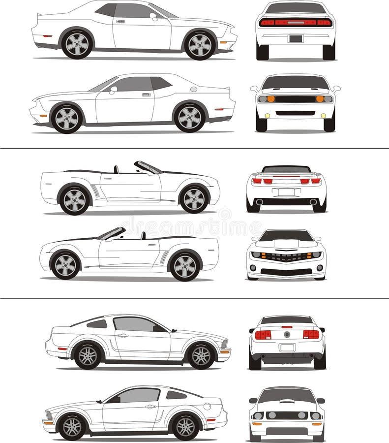汽车肌肉概述模板 库存例证