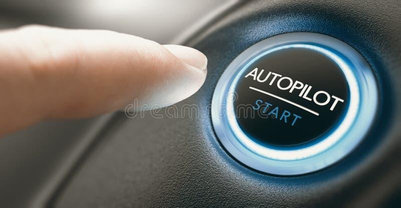 汽车自动驾驶开关按钮 自动驾驶汽车 免版税库存照片