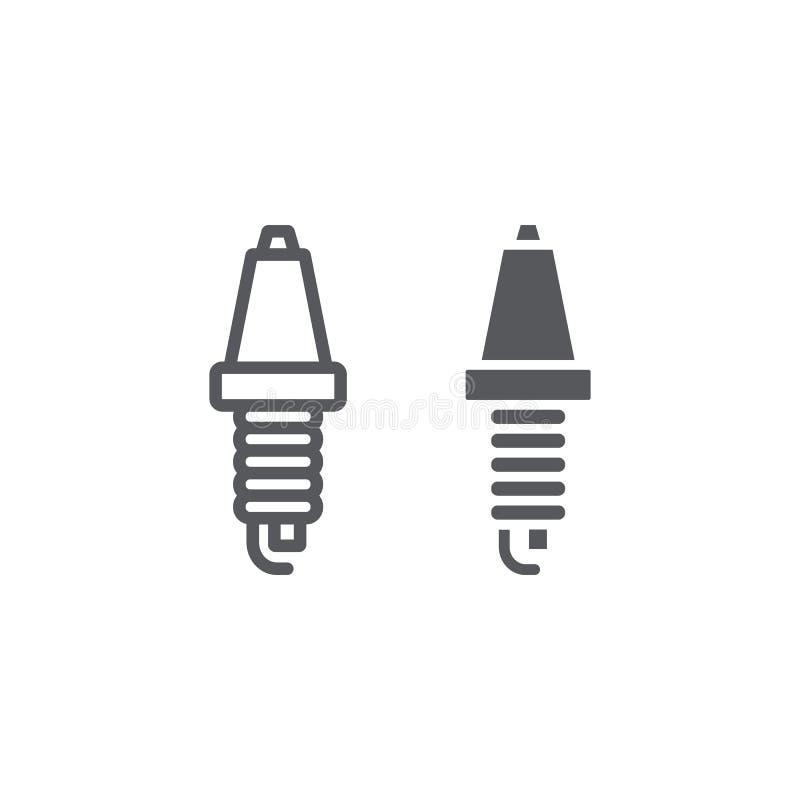 汽车蜡烛线和纵的沟纹象、汽车和部分,火花塞标志,向量图形,在白色背景的一个线性样式 库存例证