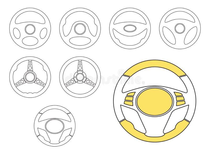 汽车被设置的方向盘象 向量例证