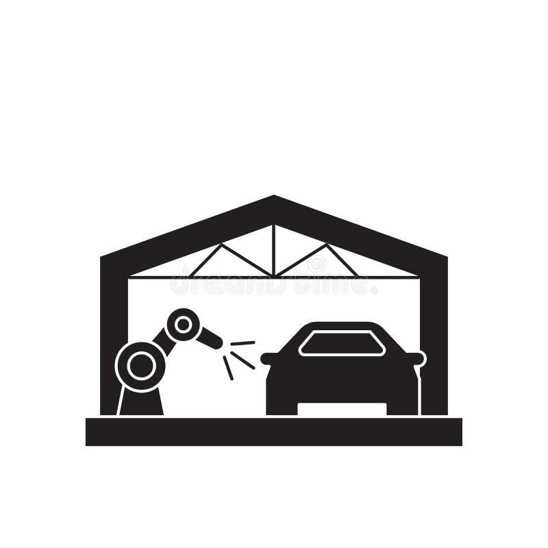 汽车装配线黑色传染媒介概念象 汽车装配线平的例证,标志 向量例证