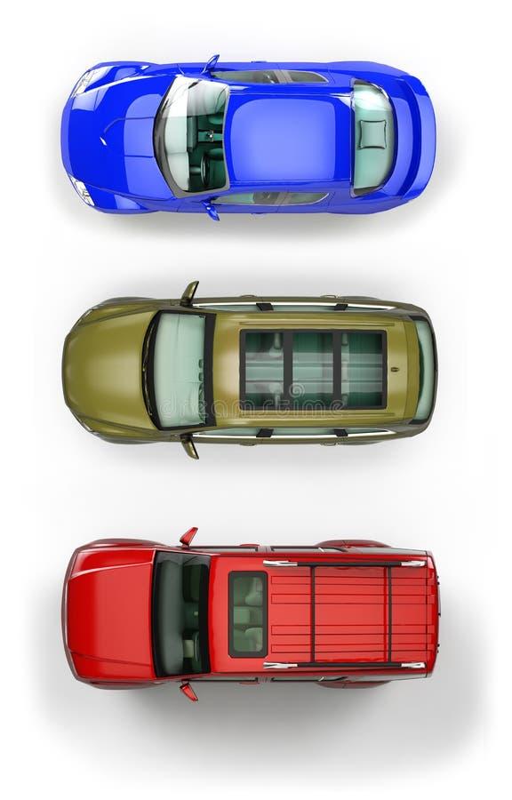 汽车设置了顶视图 向量例证