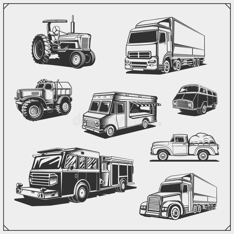 汽车设置了 货物、火、食物卡车、运载工具和越野suv汽车、拖拉机和提取 向量例证