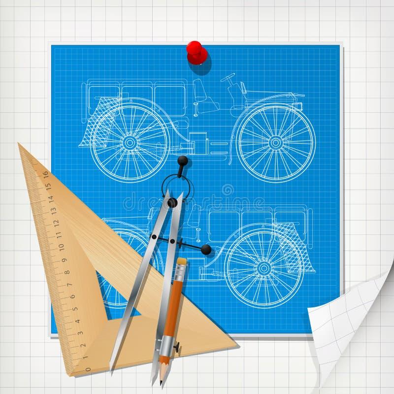 汽车设计图纸布局 皇族释放例证