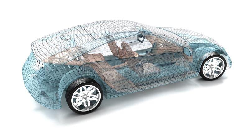 汽车设计,导线模型 库存例证