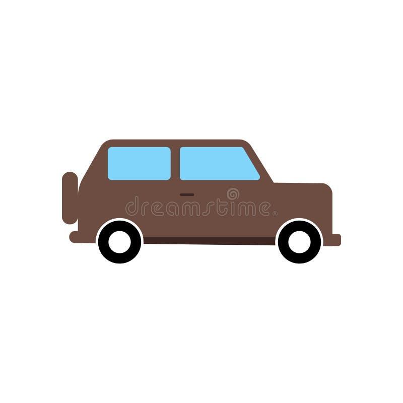 汽车象在白色背景和标志隔绝的传染媒介标志,汽车商标概念 向量例证