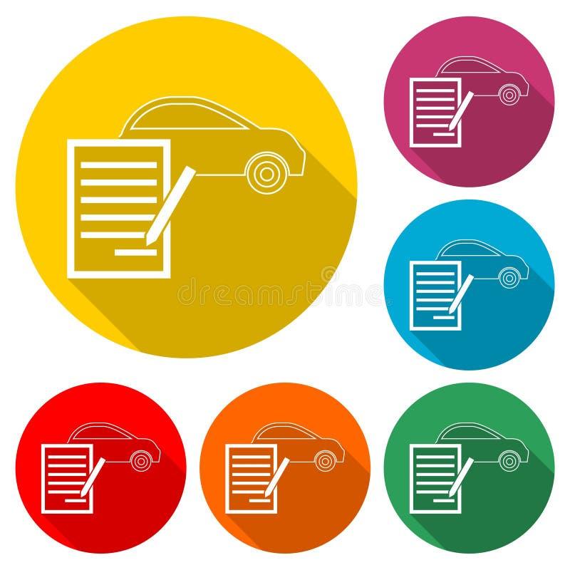 汽车购买契约象,与长的阴影的颜色象 向量例证