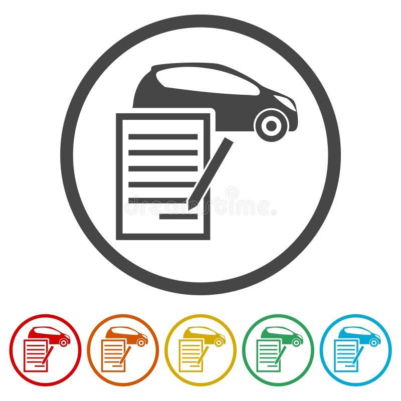 汽车购买契约象,包括的6种颜色 库存例证