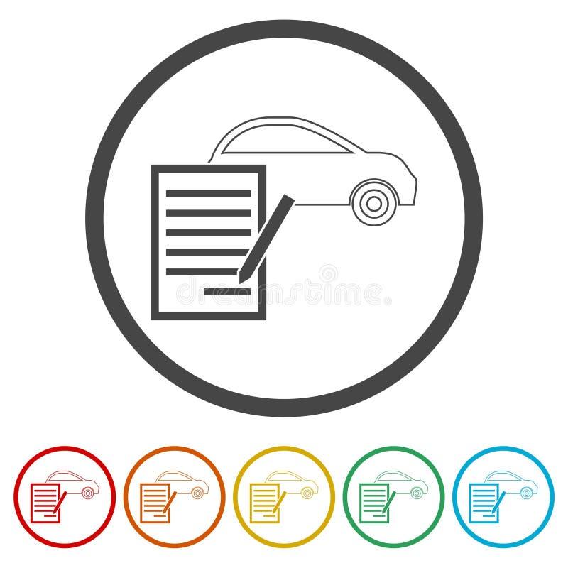 汽车购买契约象,包括的6种颜色 向量例证