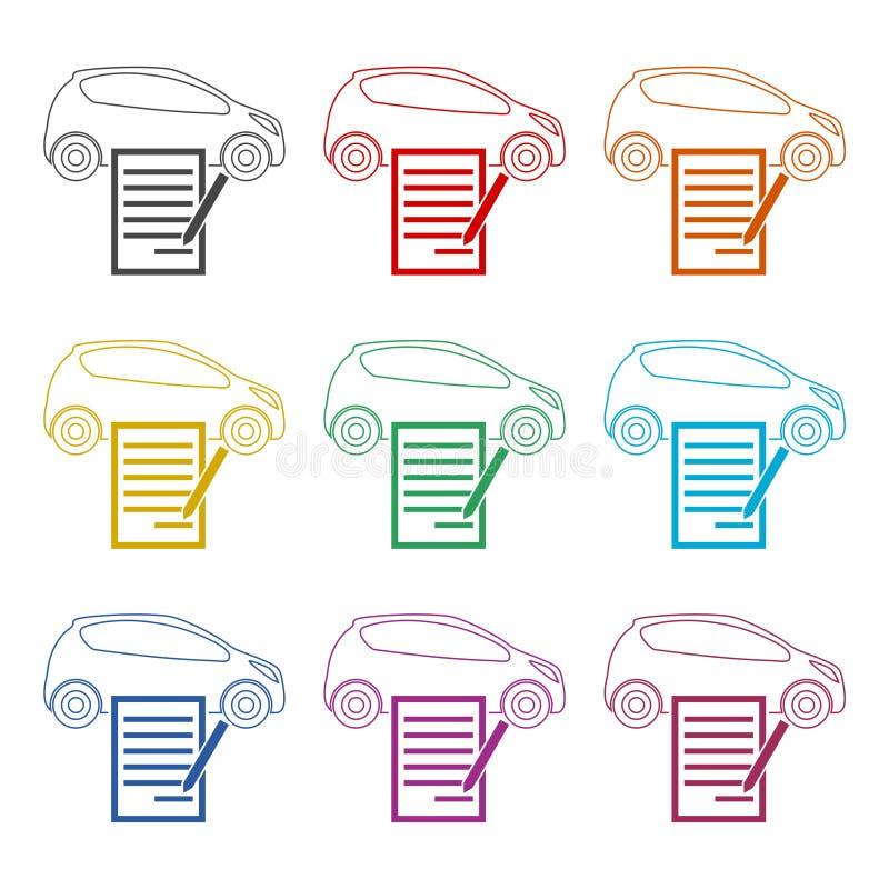 汽车购买契约象,被设置的颜色象 库存例证