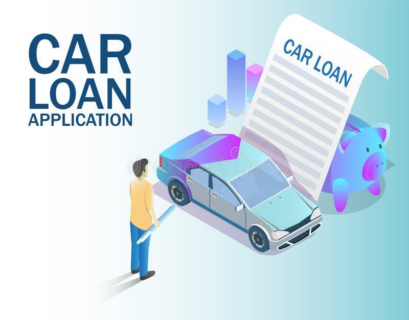 汽车贷款应用概念传染媒介等量例证 向量例证