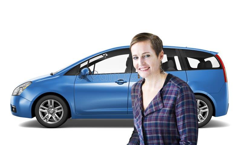 汽车车小型客车运输3D例证概念 图库摄影