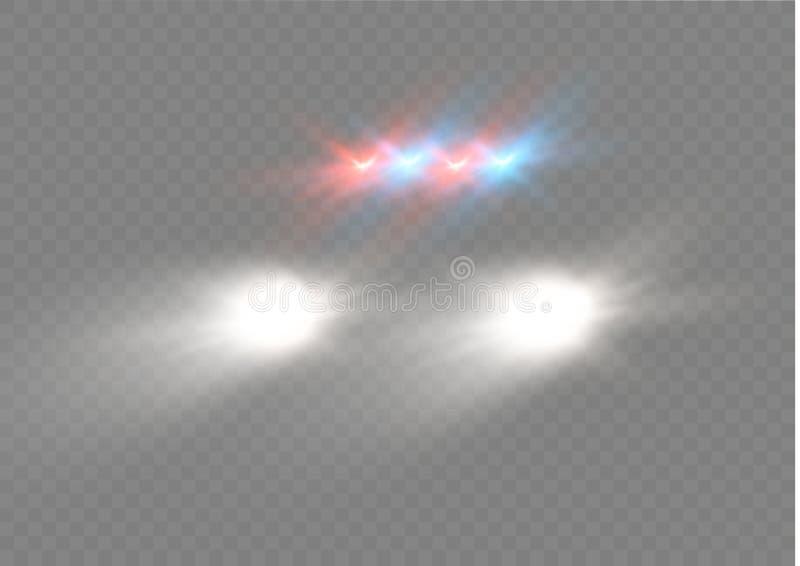 汽车车灯圆的射线现实白炽,被隔绝反对透明幽暗背景  明亮的传染媒介 皇族释放例证