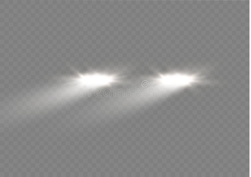 汽车车灯圆的射线现实白炽,被隔绝反对透明幽暗背景  明亮的传染媒介 向量例证