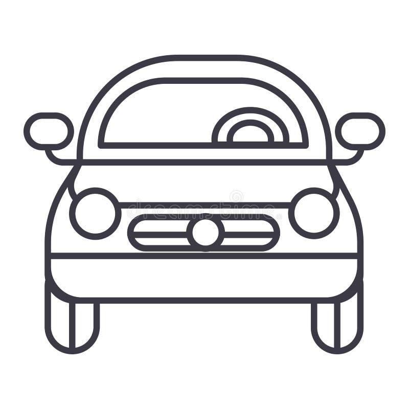 汽车车,正面图传染媒介线象,标志,在背景,编辑可能的冲程的例证 皇族释放例证