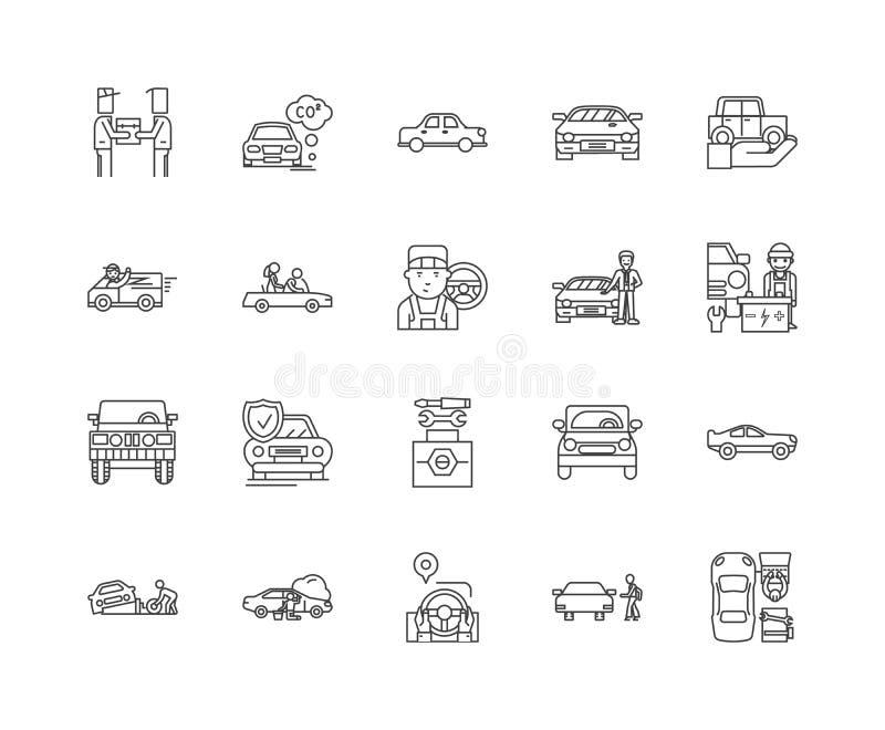 汽车转售线象,标志,传染媒介集合,概述例证概念 皇族释放例证