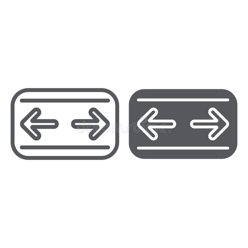汽车转弯信号排行和纵的沟纹象、汽车和盘区,仪表板标志,向量图形,在白色的一个线性样式 皇族释放例证