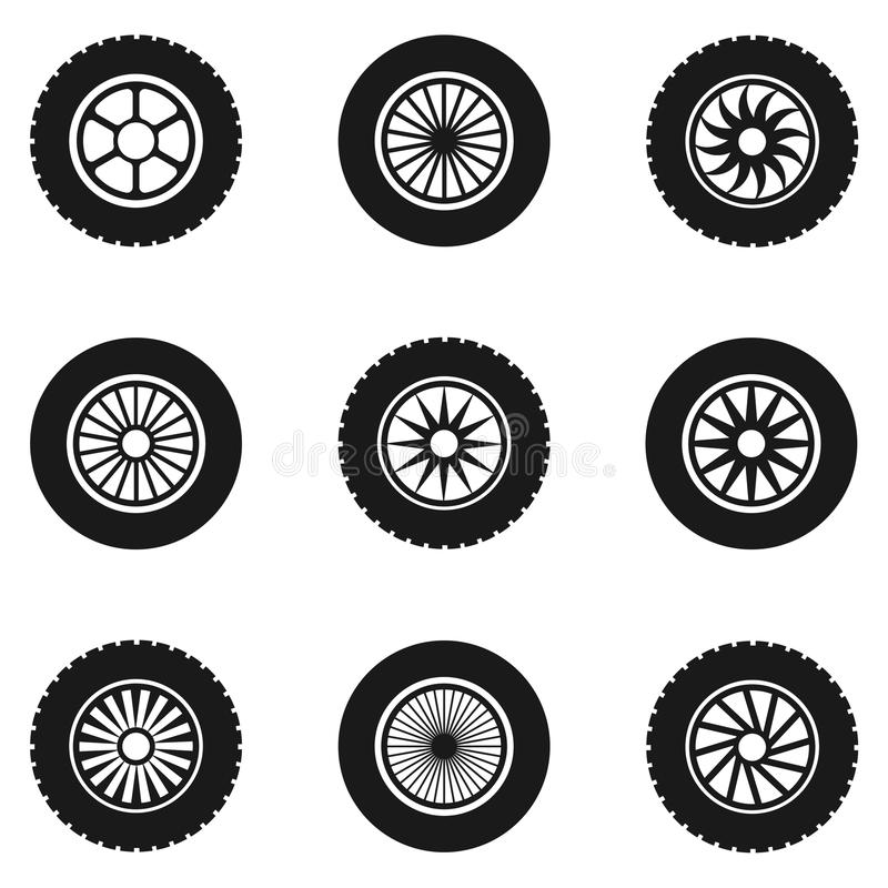 汽车轮胎集合 向量例证
