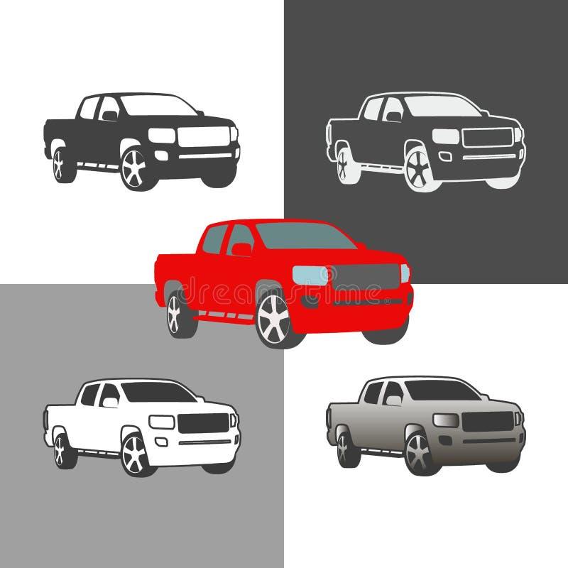 汽车轿车车剪影象色的和概述集合 库存例证