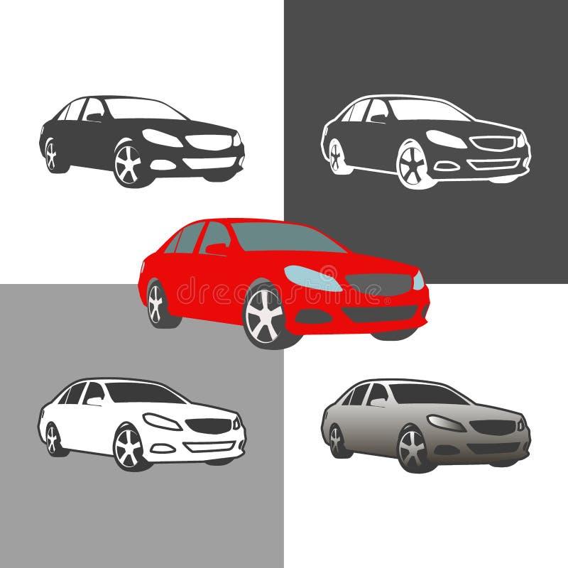 汽车轿车车剪影象色的和概述集合 皇族释放例证