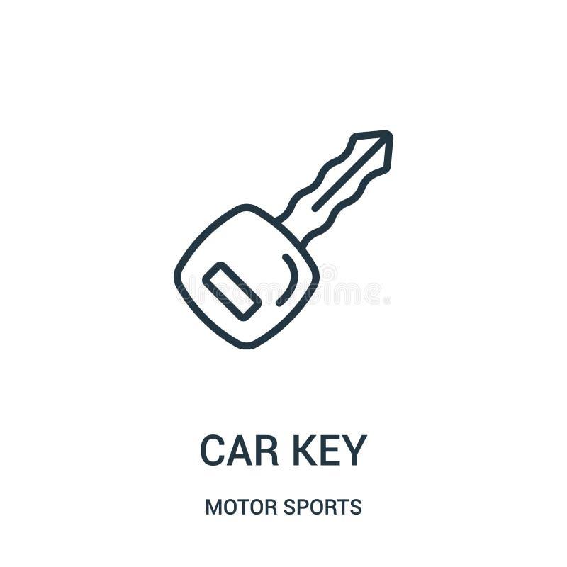 汽车钥匙从汽车竞赛汇集的象传染媒介 稀薄的线汽车钥匙概述象传染媒介例证 r 向量例证