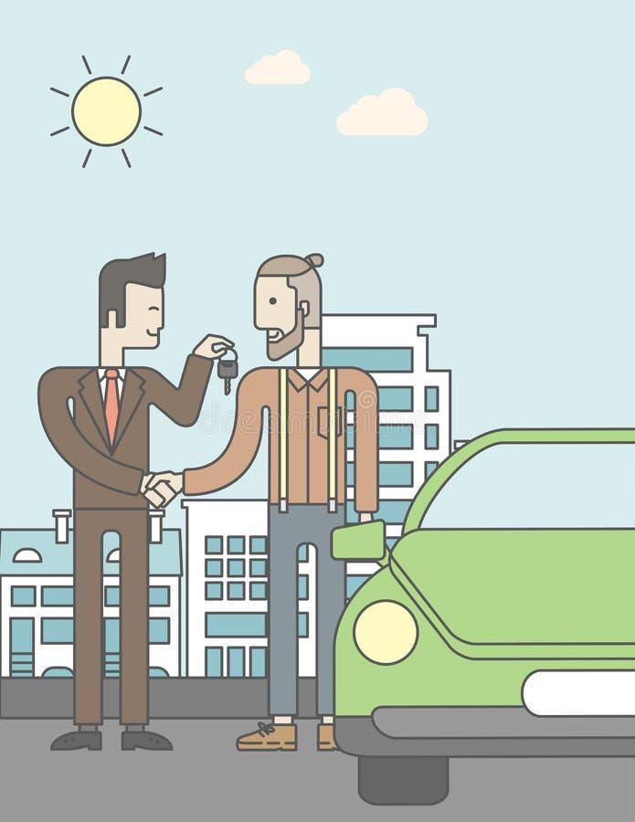 给汽车钥匙的汽车推销员一名新所有者 向量例证