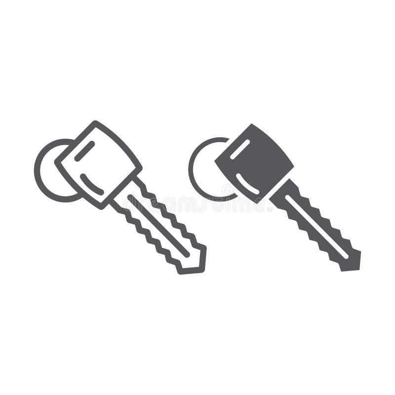 汽车钥匙线和纵的沟纹象、汽车和安全,打开标志,向量图形,在白色背景的一个线性样式 库存例证