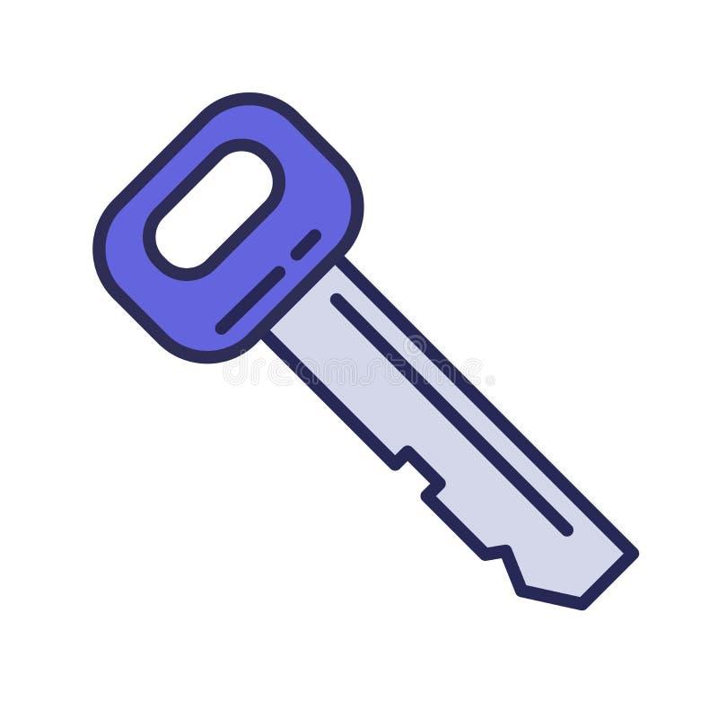 汽车钥匙,关键象 线色的传染媒介例证 背景查出的白色 向量例证