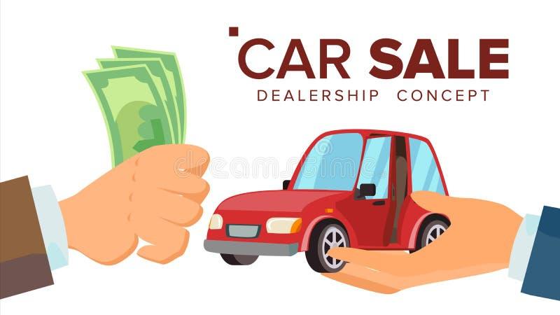 汽车销售概念传染媒介 经销商有汽车的推销员手 采购的汽车 拿着金钱的顾客手 被隔绝的舱内甲板 库存例证