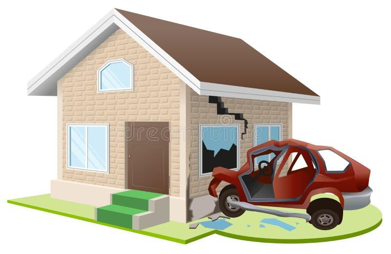 汽车闯入房子 家庭保险 皇族释放例证