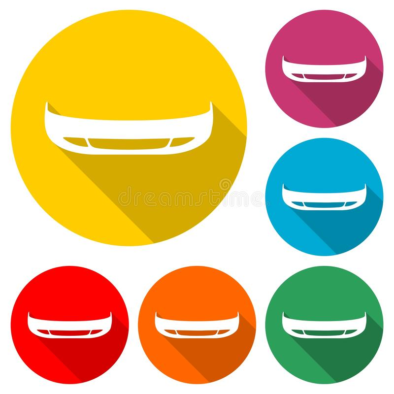 汽车防撞器象或商标,与长的阴影的彩色组 库存例证