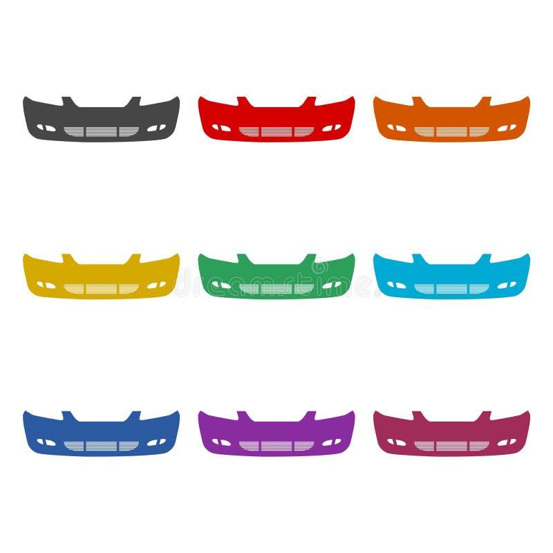 汽车防撞器象或商标,彩色组 向量例证