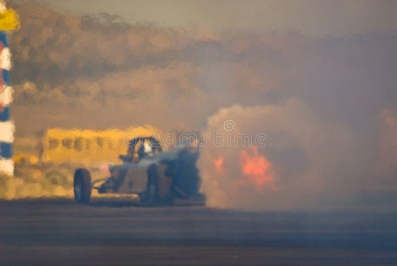 汽车阻力喷气机关闭的赛跑 免版税库存图片