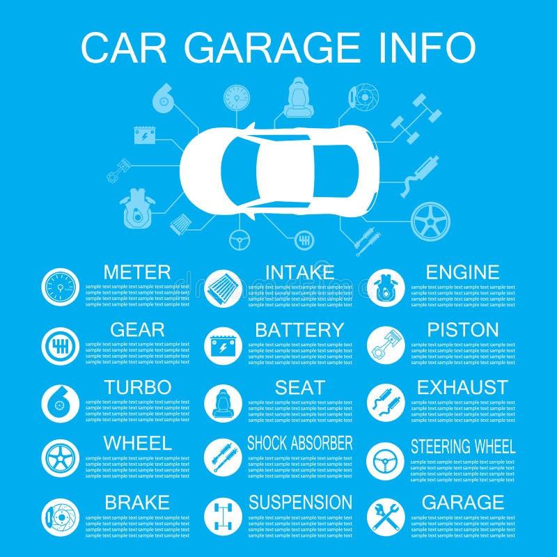 汽车零件信息 向量例证