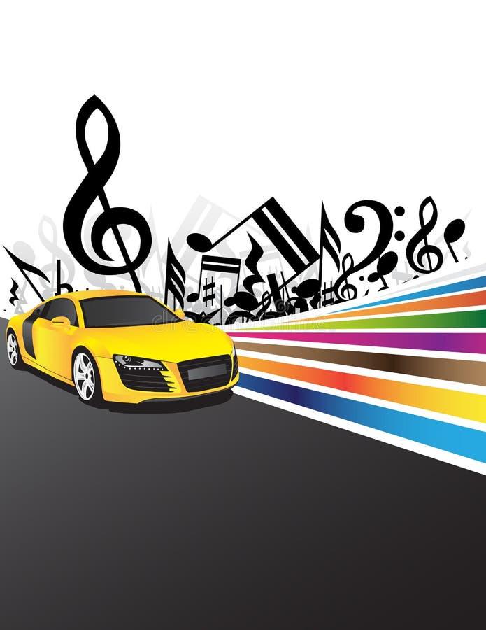 汽车音乐黄色 向量例证
