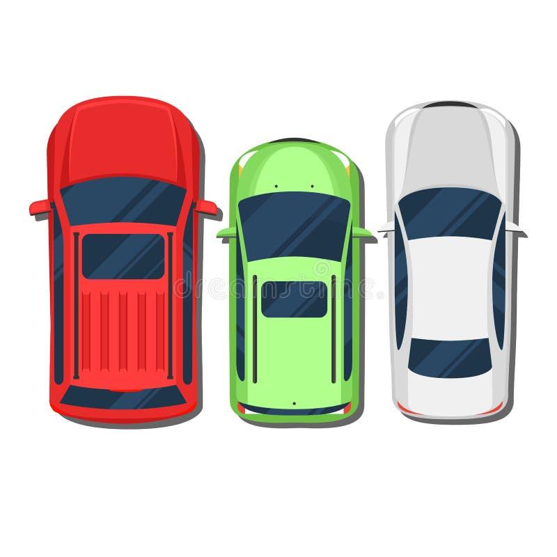 汽车顶视图 SUV,斜背式的汽车,无盖货车,轿车 向量例证