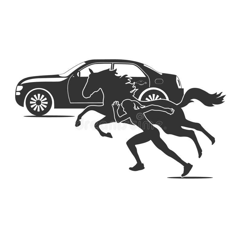 汽车马和连续女孩,速度题材,传染媒介例证 向量例证