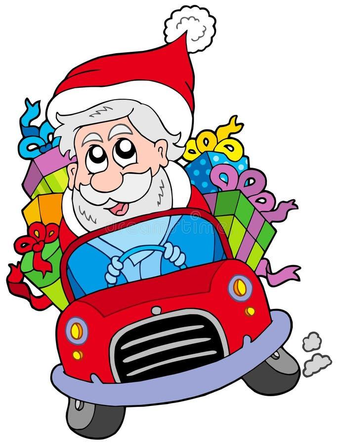 汽车驾驶圣诞老人的克劳斯 库存例证