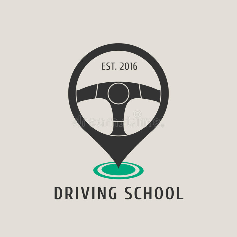 汽车驾驶学校传染媒介商标,标志,象征 向量例证