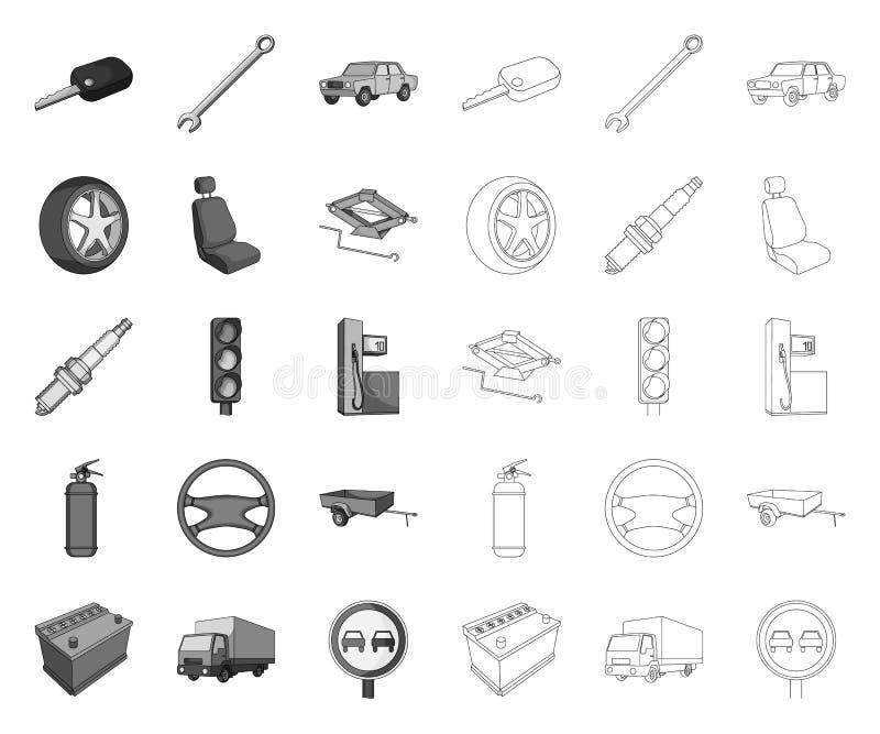 汽车,单音的车,在集合收藏的概述象的设计 r 库存例证