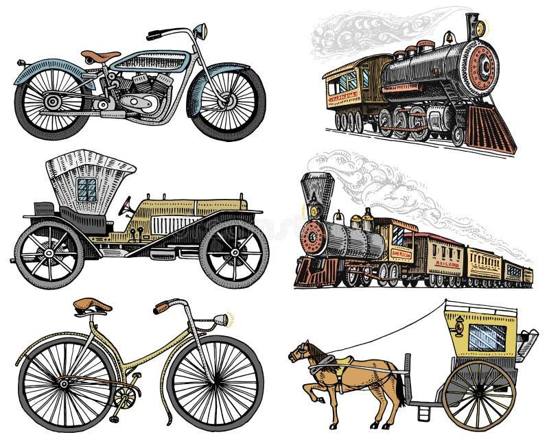 汽车,摩托车,用马拉的支架,机车 刻记手拉在老剪影样式,葡萄酒客运 皇族释放例证