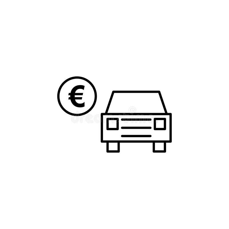 汽车,欧元,标志概述象 能为网,商标,流动应用程序,UI,UX使用 向量例证