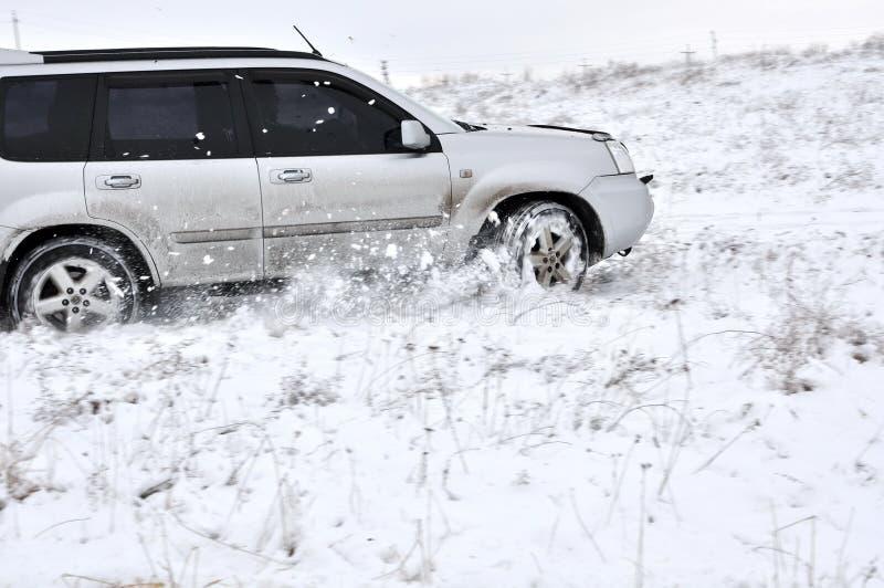 汽车,雪,驾驶 免版税库存照片